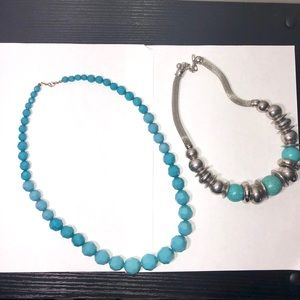 2 Women's Blue Turquoise Necklace Fashion Jewelry